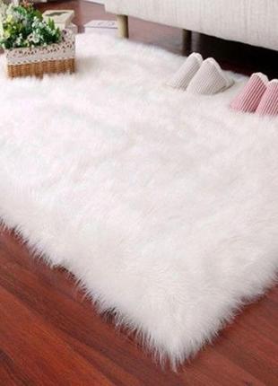 Белый пушистый коврик 60*120 см