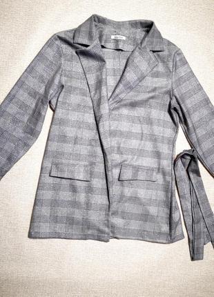 Пиджак удлиненный с люрексовой нитью в клетку