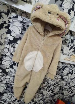 Человечек слип пижама 2-3 года, флисовый,махровый,зайчик