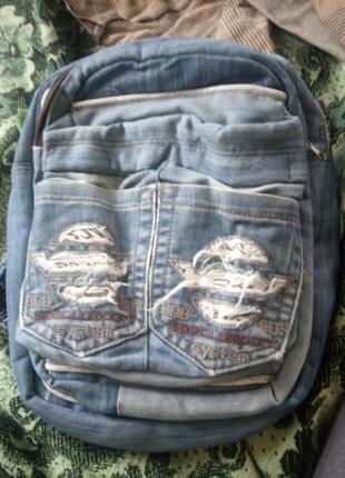 Оригинальный вместительный джинсовый со 100% котонна рюкзак с карманами