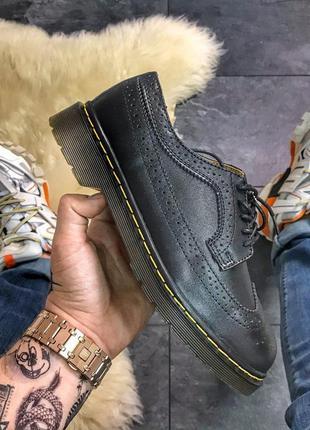 Шикарные кожаные туфли/ броги dr. martens 1461 white (унисекс) 😍