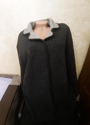 Укороченное серое пальто, полупальто alexon,100% шерсть,р.46(18)