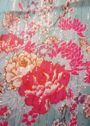 Шелковый шарфик цветочный принт с люрексовой нитью бренд  accessorize