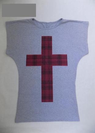 Оригинальная длинная футболка с интересным принтом, 42-46р