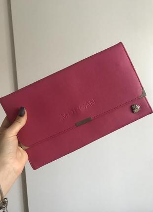 Розовый клатч органайзер для путешествий тревел кожаный кошелёк