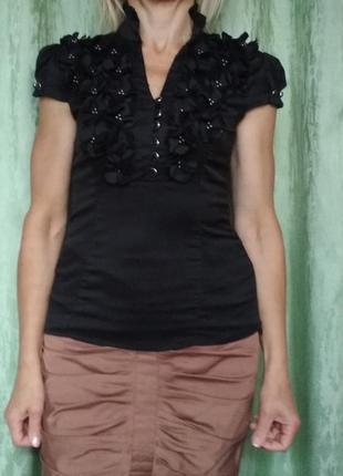 Женская черная блузка 077