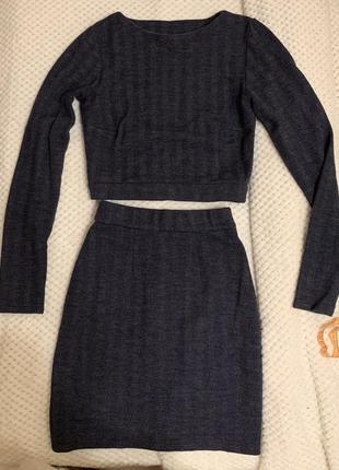 Шерстяной костюм ручная работа шерсть юбка кофта