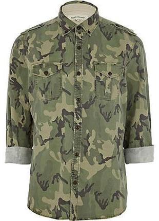 Мужская военная камуфляжная рубашка милитари хаки river island