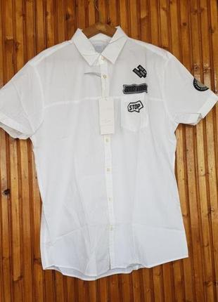 Крутая мужская рубашка colin's с нашивками.100% хлопок!