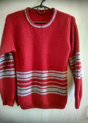 Вязаный свитер для мальчика 11-12 лет
