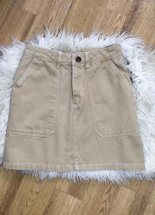 Стильная джинсовая юбка с завышенной талией трапеция с карманами