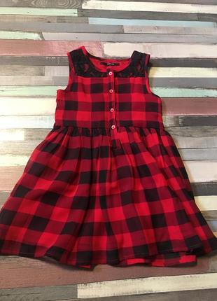 Платье красное в клеточку