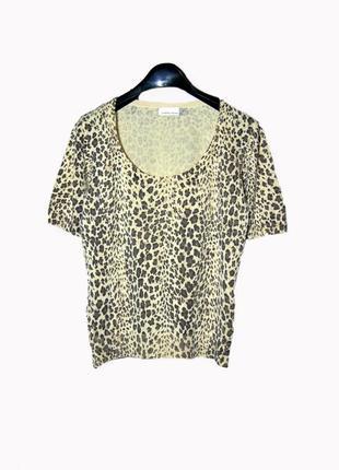 Шелковая футболка кофточка джемпер с леопардовым принтом