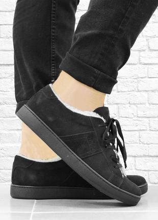 Зимние замшевые ботинки fur. черные. 28,5 см