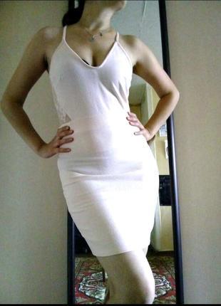 Вечернее короткое клубное платье пудрового цвета