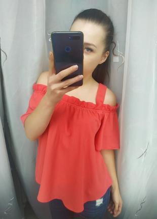 Шикарная блузка с открытыми плечами на резинке