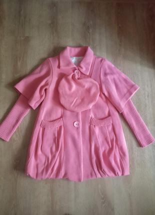 Детское демисезонное пальто с беретом