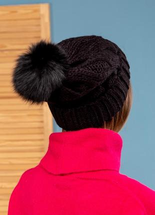 Модная стильная шапка шерсть италия помпон натуральный мех песец