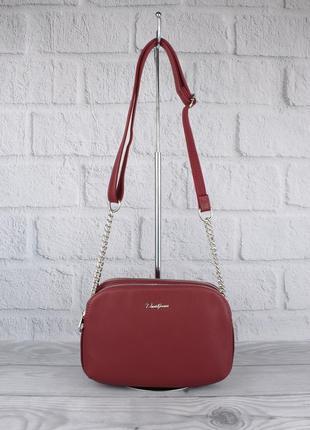Клатч, сумочка через плечо на 3 отдела david jones 6100-2 бордовая