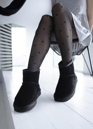 Шикарные женские замшевые зимние угги/ сапоги/ ботинки ugg classic mini black 😍 (с мехом)