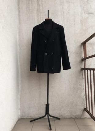 Короткое черное пальто пиджак шерсть кашемир