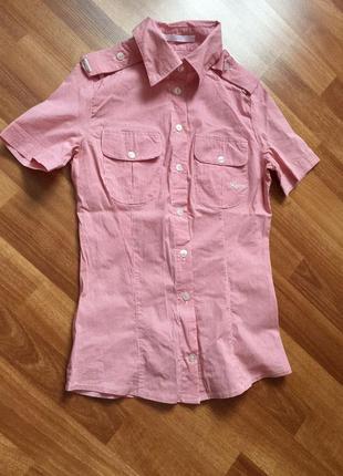 Рубашка с коротким рукавом в полоску