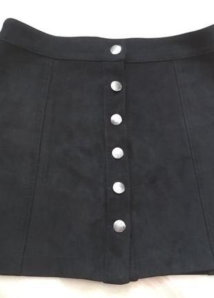 Трендова чорна юбка эко замш