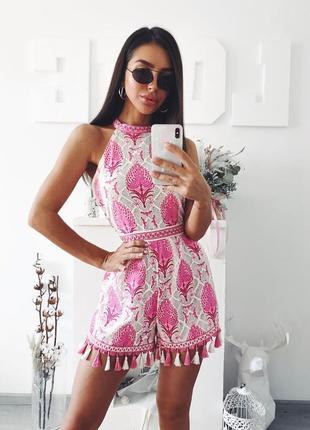 """Розовый ромпер с кисточками с восточным орнаментом """"пейсли"""", комбинезон шортами с бахромой"""