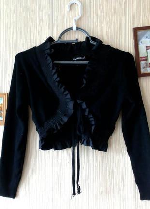 Черное вязаное болеро, кофта, накидка на платье