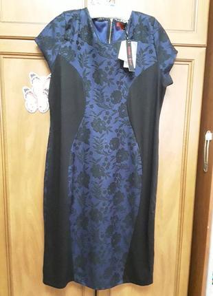 Новое силуэтное фирменное платье-карандаш р.18! шикарное!