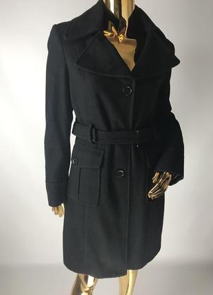 Демисезонное классическое чёрное пальто kenneth cole