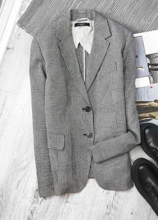 Актуальный трендовый классический качественный твидовый пиджак в клетку