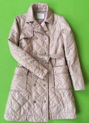 Пальто стеганное пудра демисезонное
