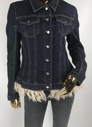 Джинсовая курточка marc cain с шелковой бахромой