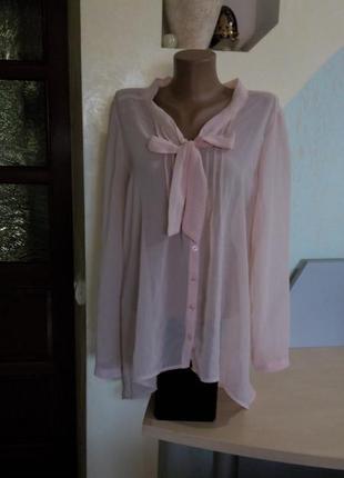 Блуза цвета пудры с бантом на груди