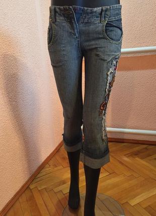 Крутые джинсовые бриджи из италии