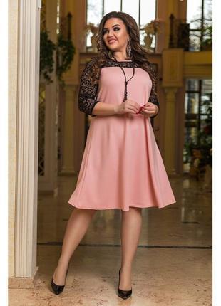 Распродажа!  платье ткань про-ва турции креп-дайвинг с добавлением люрексовой нити, гипюр.