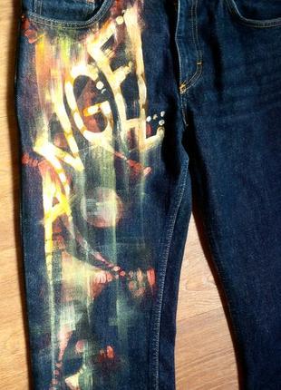 Авторская роспись!джинсы высокие клеш