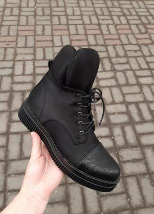 Ботинки шнурки кожаные эко кожа кожзам обувной текстиль с обработкой флис флисовые