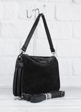 Мягкая, удобная сумочка gilda tohetti 61530-1 черная с замшевой и лаковой вставками