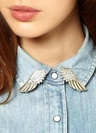 Броши на воротники серебряные крылья