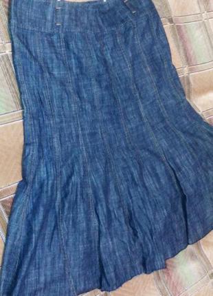 Длинная юбка из плотного джинса