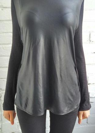 Черная комбинировая блуза-кофточка