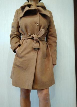 Стильное шерстяное пальто под пояс more&more  р 42