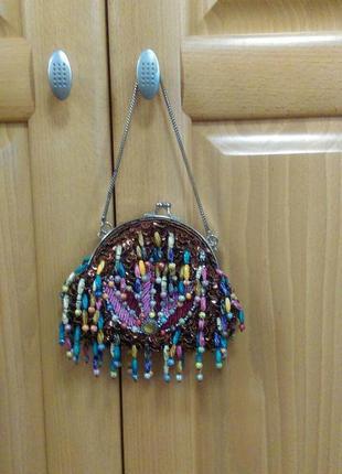 Винтажная восхитительная  сумочка  клатч  с бисером  leko