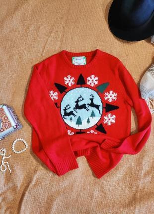 Свитер оверсайз новогодний рождественский олень снежинка