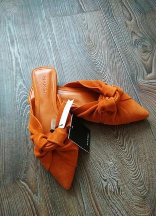 Женские замшевые рыжие мюли,туфли,шлепанцы 36,38 mango оригинал