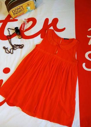 Платье яркое плиссе с воротничком новогоднее