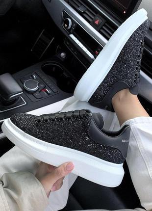 Шикарные кожаные кроссовки маквин в черном цвете (весна-лето-осень)😍