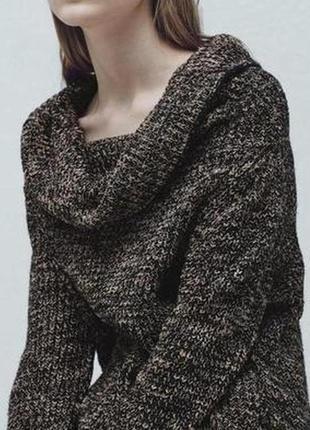 Меланжевый свитер ,полувер , крупная вязка, trinity hare care, l-xl